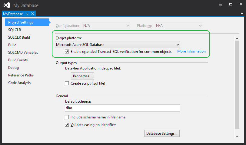 ssdt-project-settings-for-azure