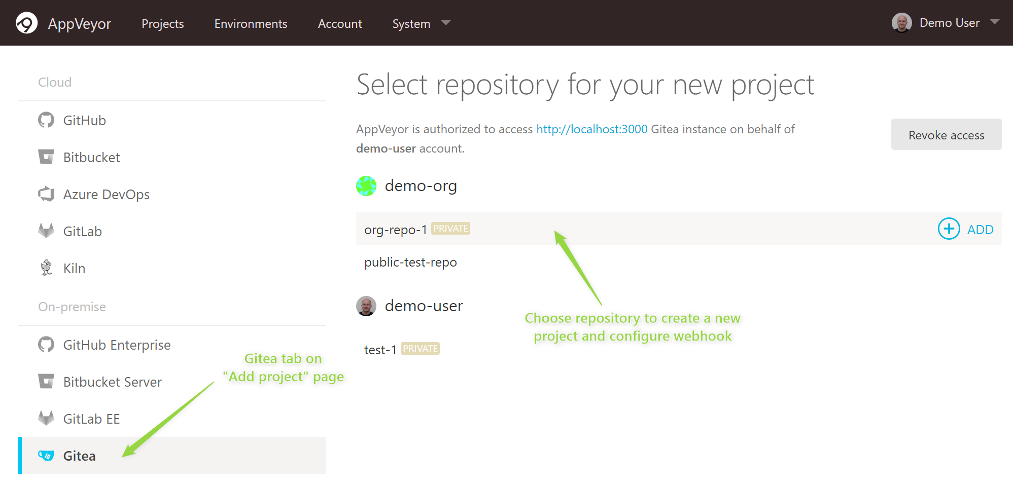 Choose Gitea repository for a new project